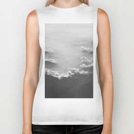 Clouds (Black and White) Biker Tank