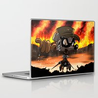 attack on titan Laptop & iPad Skins featuring A Quack on Titan by ADobson