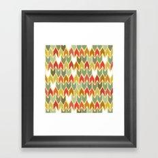 warm ikat chevron Framed Art Print