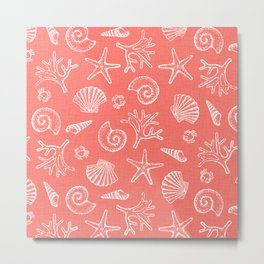 Lovely Life on Beach - Living Coral Metal Print