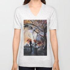 Watercolor painting - Autumn rain - Unisex V-Neck