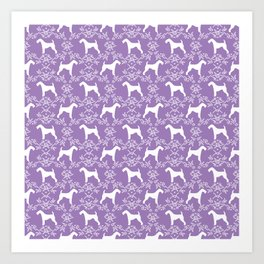 Airedale Terrier silhouette purple florals dog pattern pet art minimal black and white Art Print