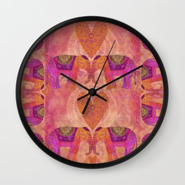 Elephants in Love Heart Art Wall Clock