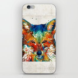 Colorful Fox Art - Foxi - By Sharon Cummings iPhone Skin