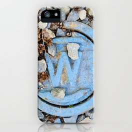 A Blue Letter W for Water Works in Gravel with Pinecones  iPhone Case