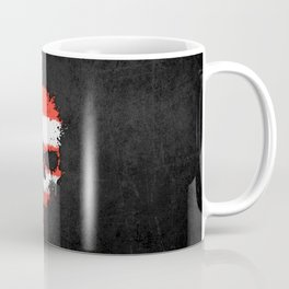 Flag of Puerto Rico on a Chaotic Splatter Skull Coffee Mug