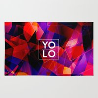 sayings Area & Throw Rugs featuring Dreams of YOLO Vol.2 by HappyMelvin