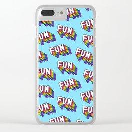 FUN pattern. Blue. Clear iPhone Case