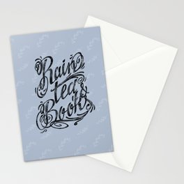Rain, Tea & Books - Black lettering only Stationery Cards