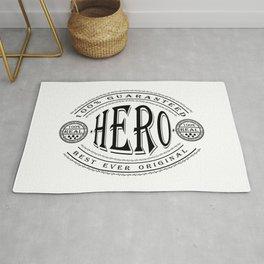 100% Best Ever Original Hero (black badge on white) Rug