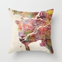 vancouver Throw Pillows featuring Vancouver by MapMapMaps.Watercolors