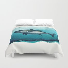 Bluefin Tuna ~ Watercolor Painting by Amber Marine,(Copyright 2016) Duvet Cover