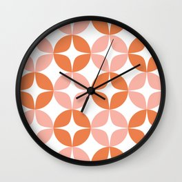 Mid Century Modern Motif Pattern in Burnt Orange and Blush Wall Clock
