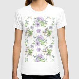 Desert Succulents Purple and Green T-shirt