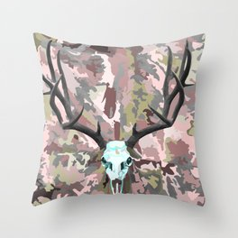 Camouflage Deer Collage Throw Pillow