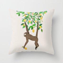 Monkey on lemon tree Throw Pillow