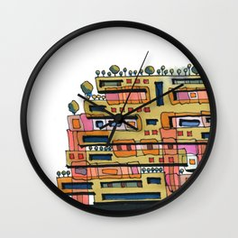 Urban Nature Building Architectural Illustration 62 Wall Clock