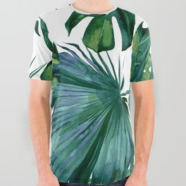 Classic Palm Leaves Tropical Jungle Green All Over Graphic Tee