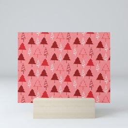 Christmas Tree Red and Pink Mini Art Print