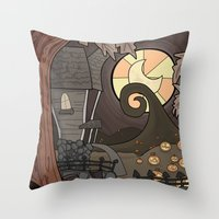 nightmare before christmas Throw Pillows featuring Nightmare Before Christmas by Lacey Simpson