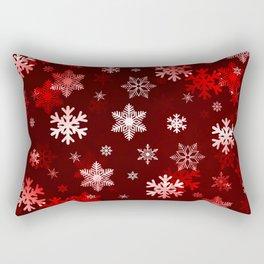 Dark Red Snowflakes Rectangular Pillow