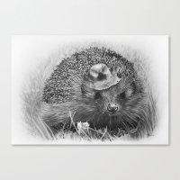 hedgehog Canvas Prints featuring Hedgehog by MARIA BOZINA - PRINT