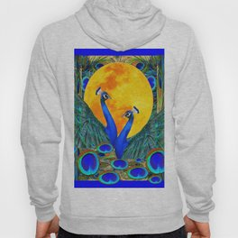 FULL GOLDEN MOON BLUE PEACOCK  FANTASY ART Hoody