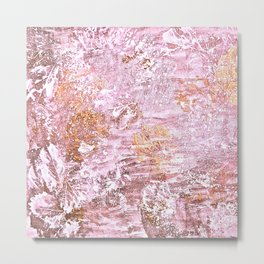 Abstract Autumn In Gold-Rosé Metal Print