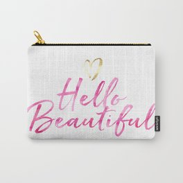 Pink Hello Beautiful with Gold Heart Carry-All Pouch