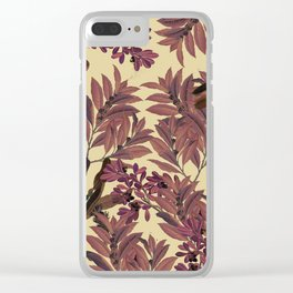 Purple Leaves Clear iPhone Case