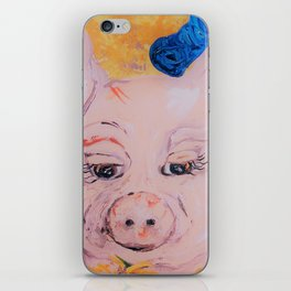 Blue Ribbon Pig iPhone Skin
