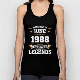 June 1988 30 the birth of Legends Unisex Tank Top
