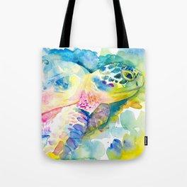 Sea Turtle Watercolor Illustration by Julie Lehite, Julesofthesea Tote Bag