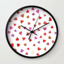 Love, Romance, Hearts - Red White Purple Pink Wall Clock