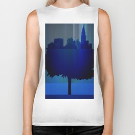 Point of view on the city blue Biker Tank