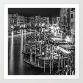 VENICE View from Rialto Bridge | Monochrome Art Print
