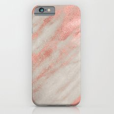 Marble Rose Gold Marble Foil on White iPhone Case and Throw Pillow Design iPhone 6 Slim Case