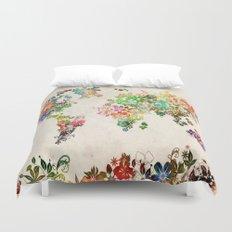 world map floral Duvet Cover