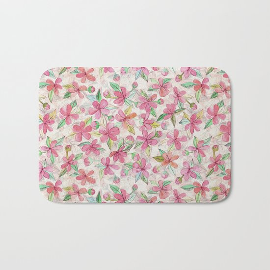 Pink Painted Blossom Pattern Bath Mat