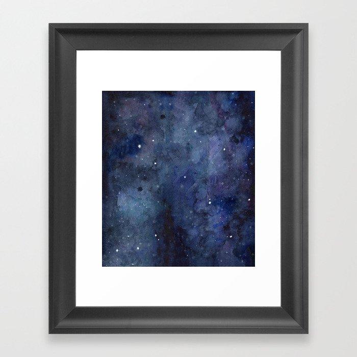 Night Sky Stars Galaxy | Watercolor Nebula Framed Art Print by ...