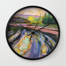Edvard Munch - Morning Waves Against the Shore of the Coast nautical landscape painting Wall Clock