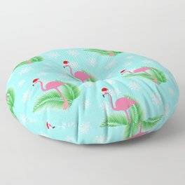 Flamingo at winter with snowflakes Floor Pillow
