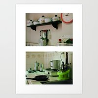 mercedes Art Prints featuring Mercedes' kitchen. Trinidad, Cuba by Laura Lewis Photography