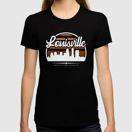 Retro Louisville Kentucky Sunset Skyline T-shirt