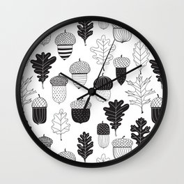 Acorns and oak leaves doodles Wall Clock