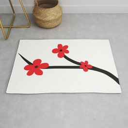 Beautiful Red and Black Japanese Cherry Blossom Flower Art Rug