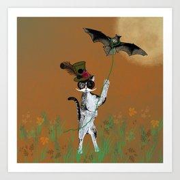 Cat Walking His Bat Art Print