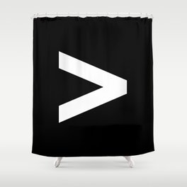 Greater-Than Sign (White & Black) Shower Curtain
