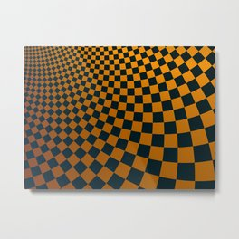 Abstract fractal background with curved square checkers Metal Print