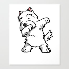 Funny West Highland White Terrier Dabbing Canvas Print
